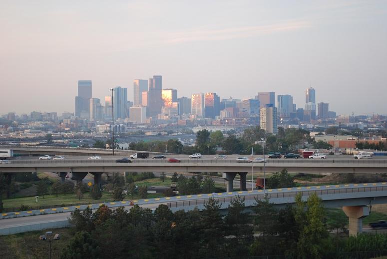 Pohľad z nášho hotela na Denver, Colorado