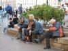 Muži oddychujú, Námestie Povstania, Petrohrad, Rusko