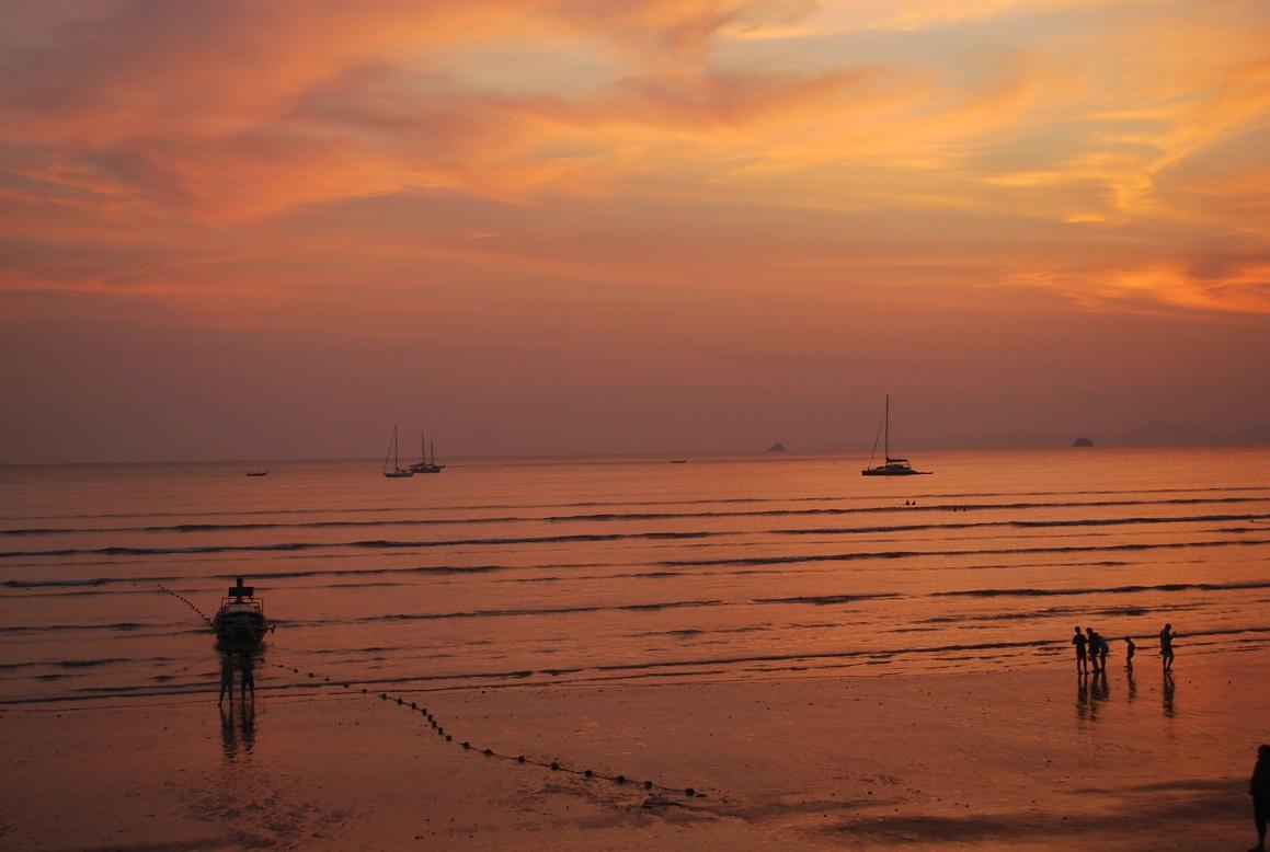 Západ slnka, Aonang, Krabi, Thajsko