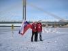 Pózovanie s malou vlajkou a Vencom